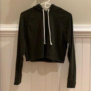 dark green cropped hoodie